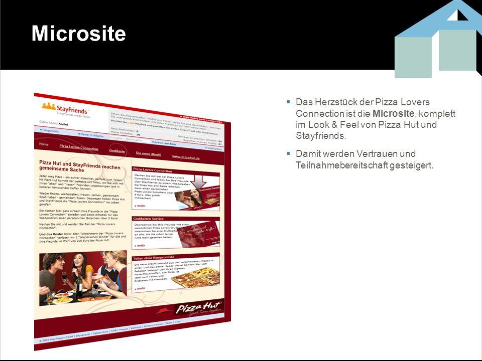 Microsite Das Herzstück der Pizza Lovers Connection ist die Microsite, komplett im Look & Feel von Pizza Hut und Stayfriends. Damit werden Vertrauen u