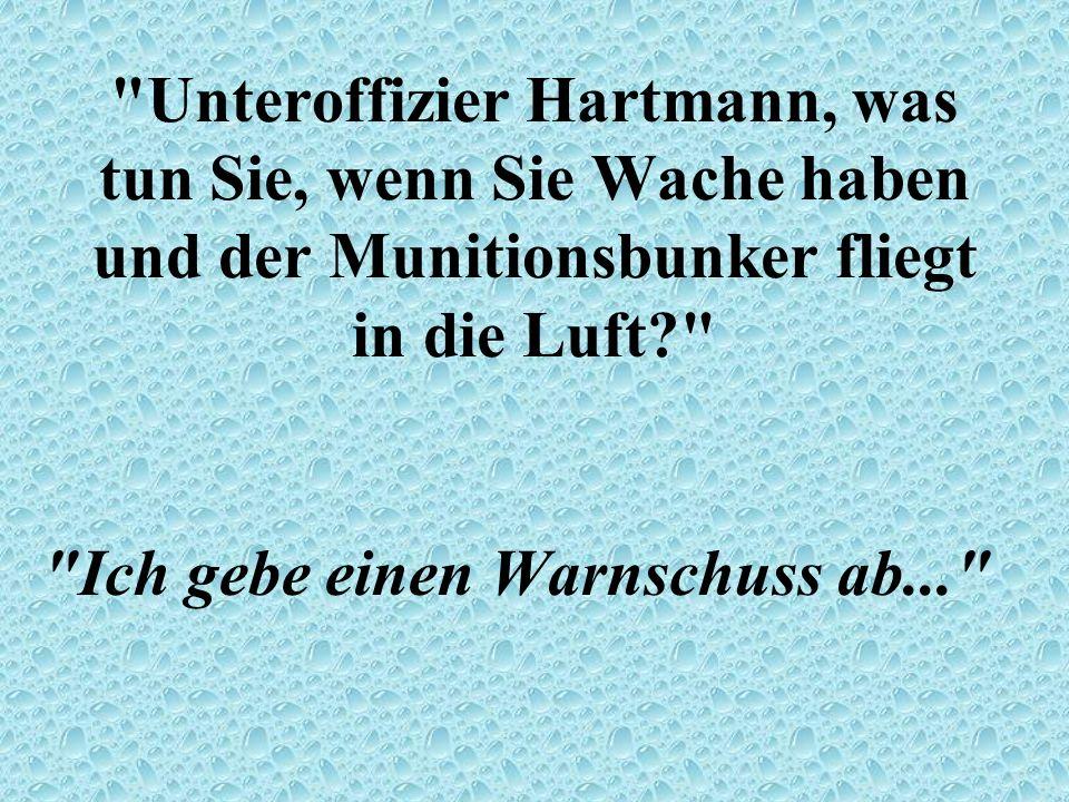 Unteroffizier Hartmann, was tun Sie, wenn Sie Wache haben und der Munitionsbunker fliegt in die Luft? Ich gebe einen Warnschuss ab...