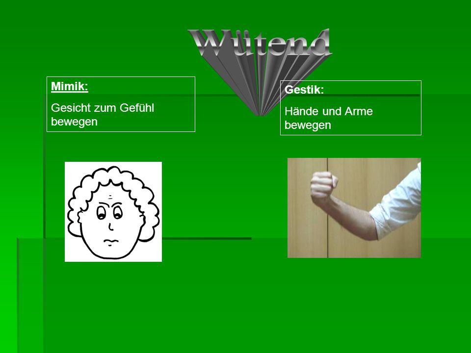 Mimik: Gesicht zum Gefühl bewegen Gestik: Hände und Arme bewegen
