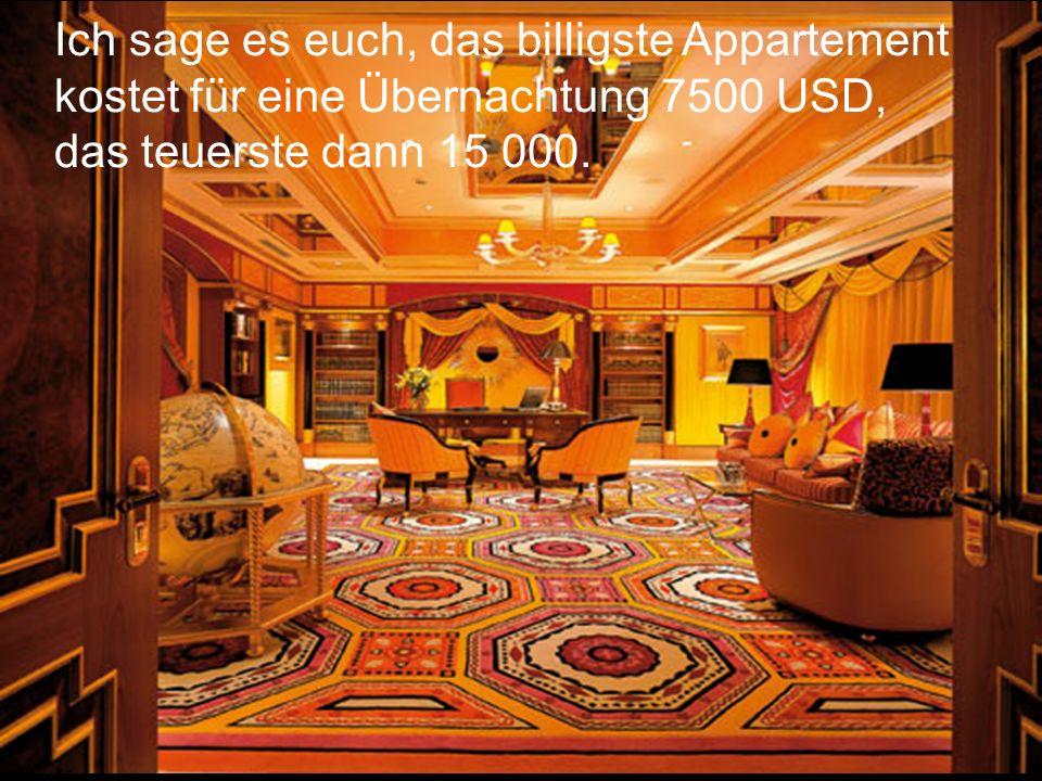 Z.B. das hier ist ein Appartement mit einem Panoramaausblick für 8250 Dollar für eine Nacht.