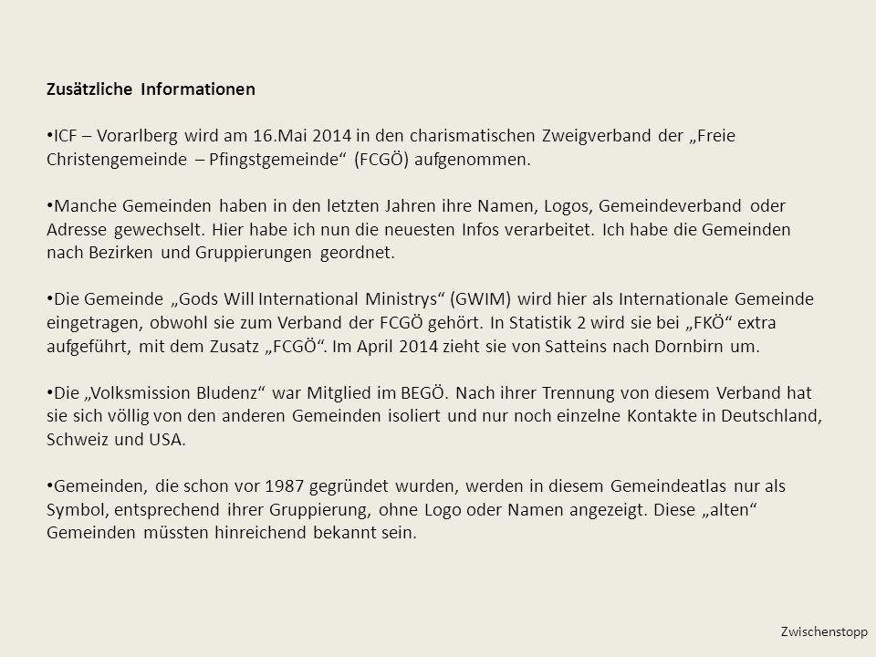 Zusätzliche Informationen ICF – Vorarlberg wird am 16.Mai 2014 in den charismatischen Zweigverband der Freie Christengemeinde – Pfingstgemeinde (FCGÖ)