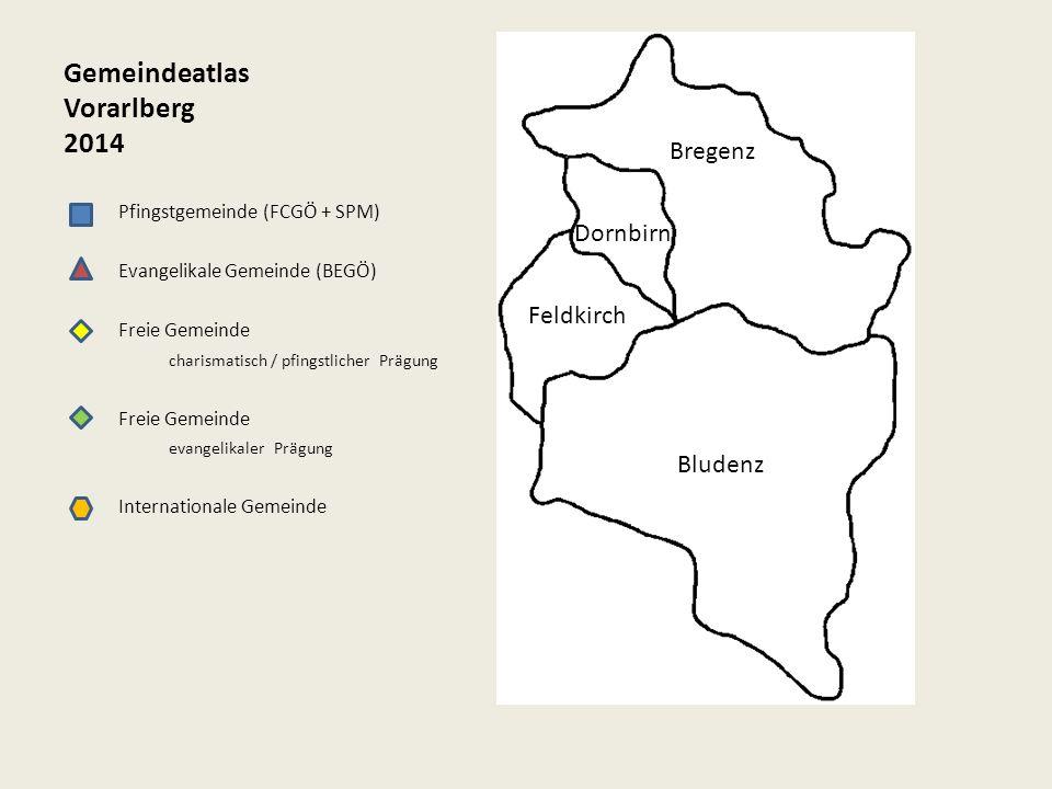 Gemeindeatlas Vorarlberg 2014 Pfingstgemeinde (FCGÖ + SPM) Evangelikale Gemeinde (BEGÖ) Freie Gemeinde charismatisch / pfingstlicher Prägung Freie Gem