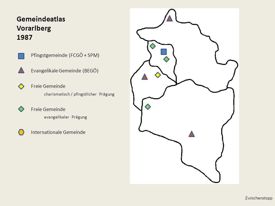 Gemeindeatlas Vorarlberg 1987 Pfingstgemeinde (FCGÖ + SPM) Evangelikale Gemeinde (BEGÖ) Freie Gemeinde charismatisch / pfingstlicher Prägung Freie Gem