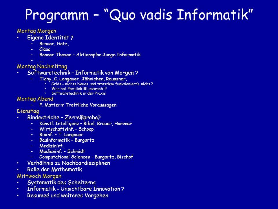 Programm – Quo vadis Informatik Montag Morgen Eigene Identität .