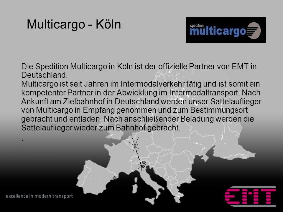 Die Spedition Multicargo in Köln ist der offizielle Partner von EMT in Deutschland. Multicargo ist seit Jahren im Intermodalverkehr tätig und ist somi