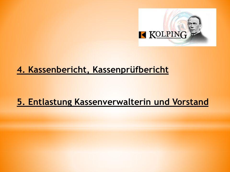 4. Kassenbericht, Kassenprüfbericht 5. Entlastung Kassenverwalterin und Vorstand