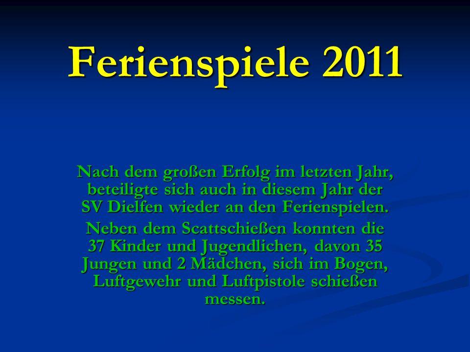 Ferienspiele 2011 Nach dem großen Erfolg im letzten Jahr, beteiligte sich auch in diesem Jahr der SV Dielfen wieder an den Ferienspielen. Neben dem Sc