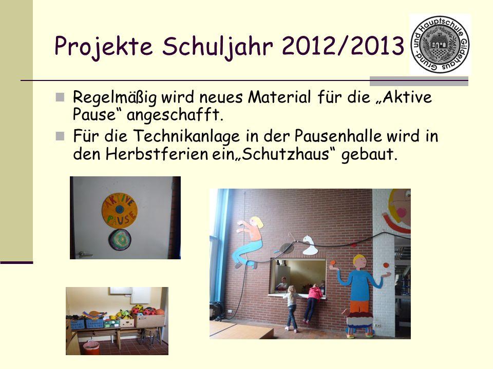 Projekte Schuljahr 2012/2013 Regelmäßig wird neues Material für die Aktive Pause angeschafft. Für die Technikanlage in der Pausenhalle wird in den Her