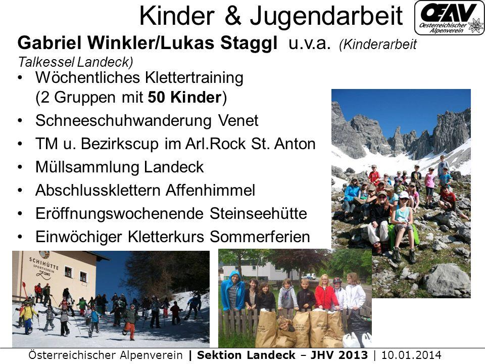 Österreichischer Alpenverein | Sektion Landeck – JHV 2013 | 10.01.2014 Kinder & Jugendarbeit Gabriel Winkler/Lukas Staggl u.v.a.
