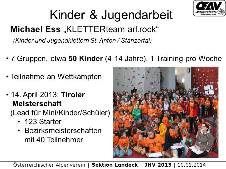 Österreichischer Alpenverein | Sektion Landeck – JHV 2013 | 10.01.2014 Kinder & Jugendarbeit Michael Ess KLETTERteam arl.rock (Kinder und Jugendklettern St.