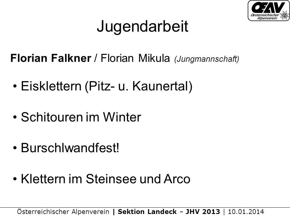 Österreichischer Alpenverein | Sektion Landeck – JHV 2013 | 10.01.2014 Jugendarbeit Florian Falkner / Florian Mikula (Jungmannschaft) Eisklettern (Pitz- u.