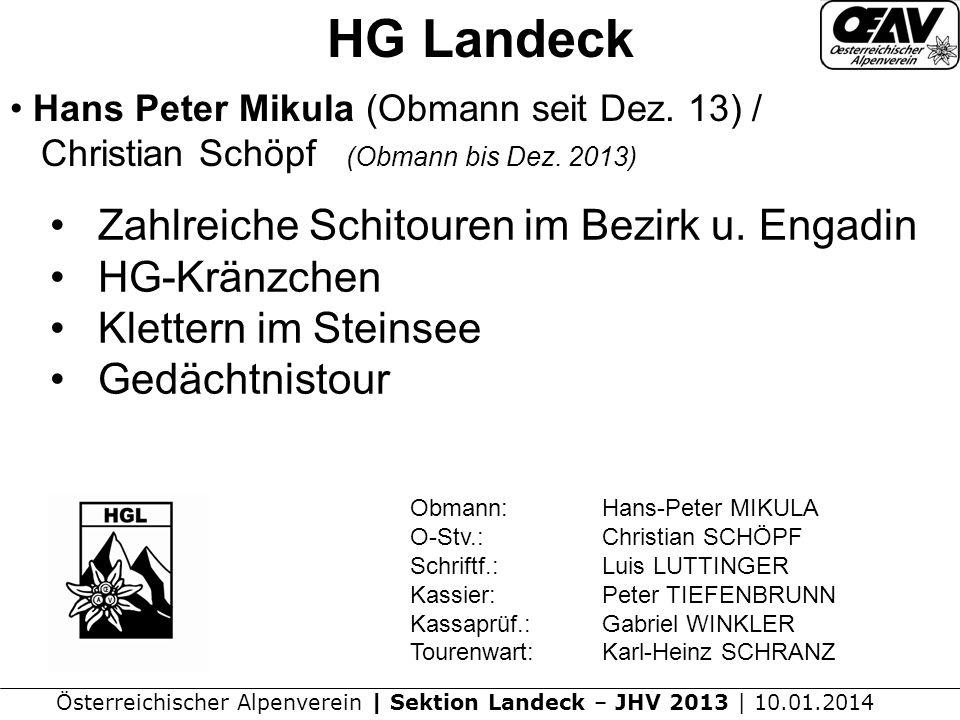 Österreichischer Alpenverein | Sektion Landeck – JHV 2013 | 10.01.2014 HG Landeck Hans Peter Mikula (Obmann seit Dez.