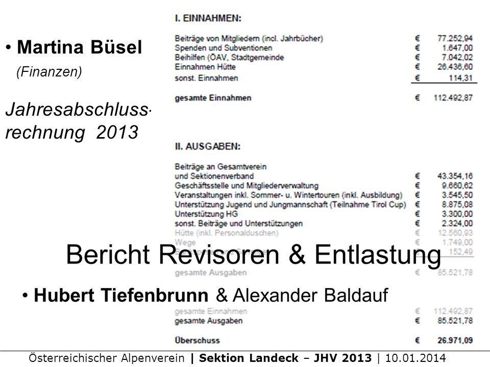 Österreichischer Alpenverein | Sektion Landeck – JHV 2013 | 10.01.2014 Martina Büsel (Finanzen) Jahresabschluss- rechnung 2013