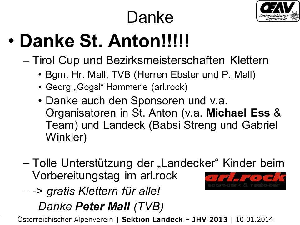 Österreichischer Alpenverein | Sektion Landeck – JHV 2013 | 10.01.2014 Danke Danke St.