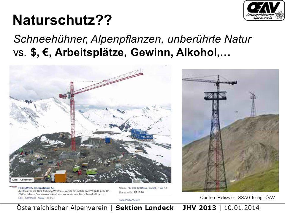 Österreichischer Alpenverein | Sektion Landeck – JHV 2013 | 10.01.2014 Naturschutz?.