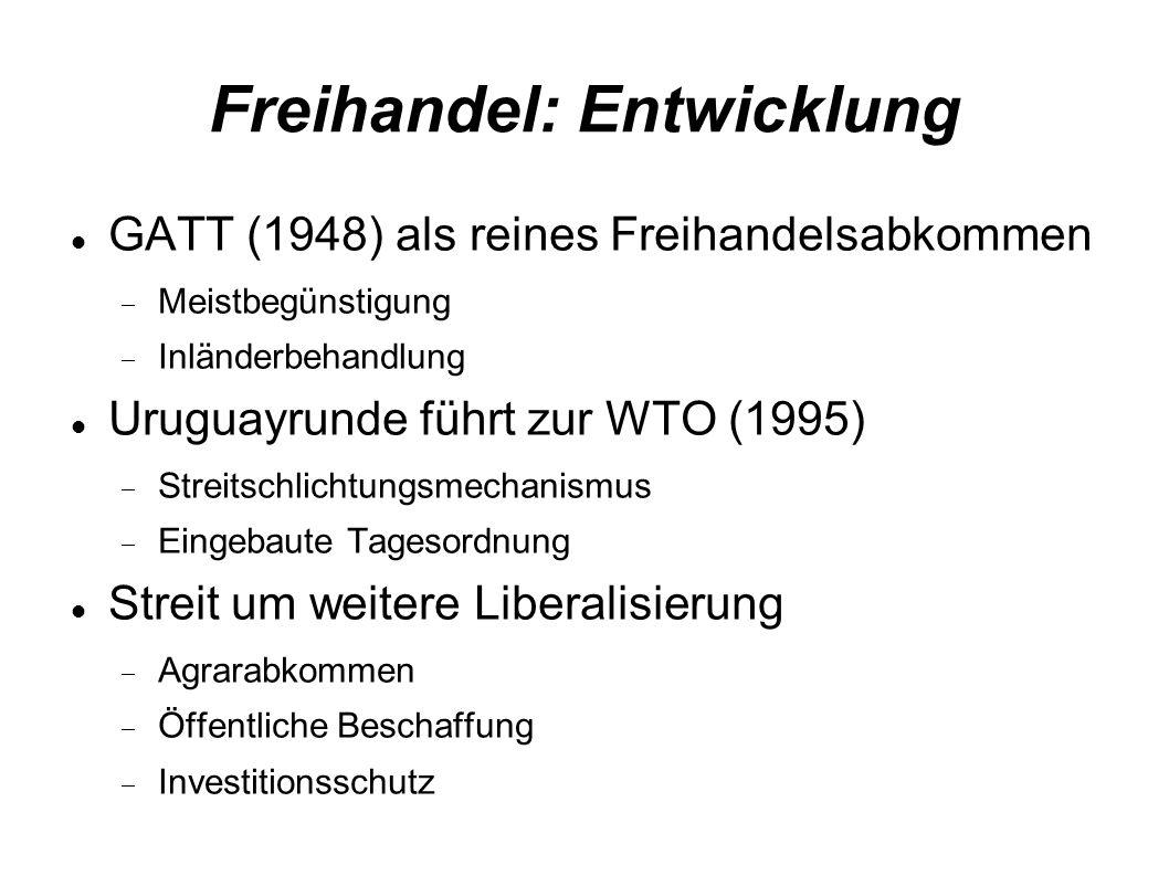 Freihandel: Entwicklung GATT (1948) als reines Freihandelsabkommen Meistbegünstigung Inländerbehandlung Uruguayrunde führt zur WTO (1995) Streitschlichtungsmechanismus Eingebaute Tagesordnung Streit um weitere Liberalisierung Agrarabkommen Öffentliche Beschaffung Investitionsschutz