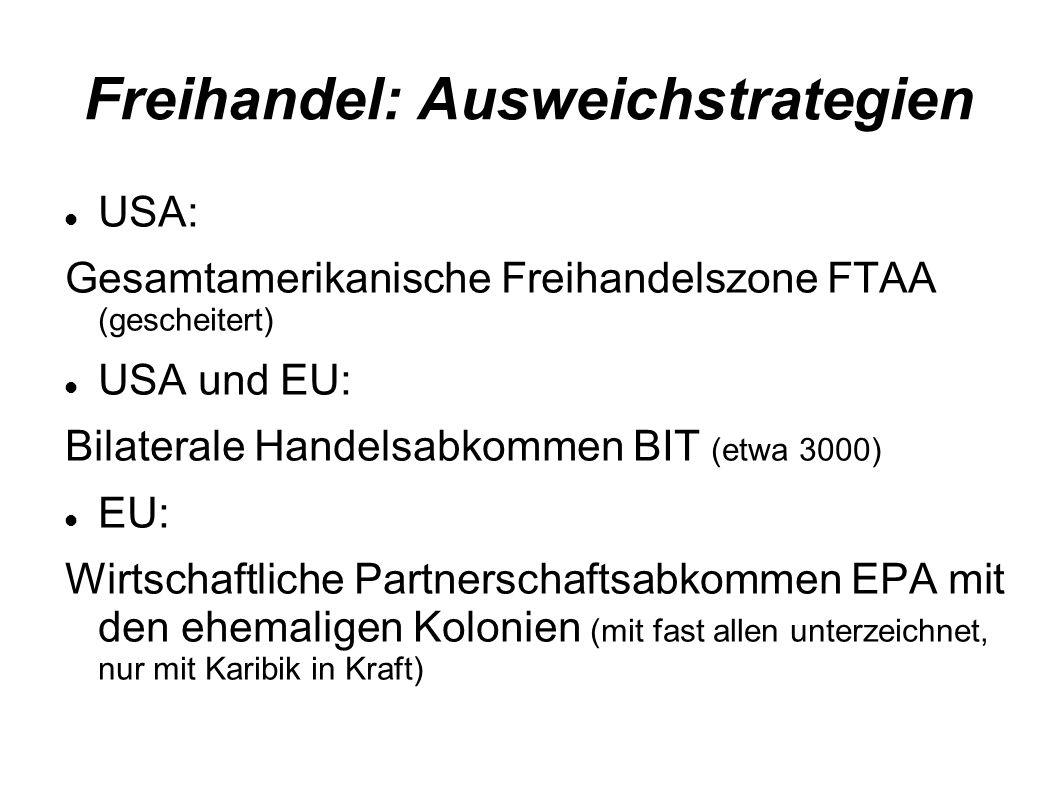 Freihandel: Ausweichstrategien USA: Gesamtamerikanische Freihandelszone FTAA (gescheitert) USA und EU: Bilaterale Handelsabkommen BIT (etwa 3000) EU: Wirtschaftliche Partnerschaftsabkommen EPA mit den ehemaligen Kolonien (mit fast allen unterzeichnet, nur mit Karibik in Kraft)