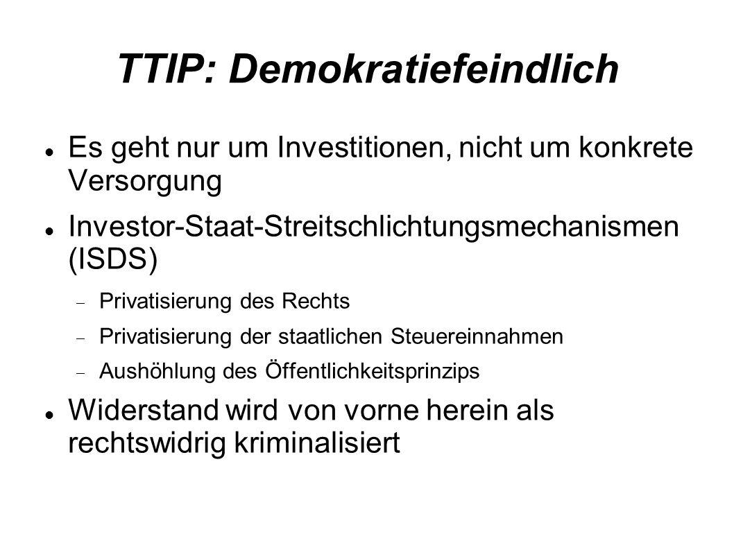 TTIP: Demokratiefeindlich Es geht nur um Investitionen, nicht um konkrete Versorgung Investor-Staat-Streitschlichtungsmechanismen (ISDS) Privatisierung des Rechts Privatisierung der staatlichen Steuereinnahmen Aushöhlung des Öffentlichkeitsprinzips Widerstand wird von vorne herein als rechtswidrig kriminalisiert