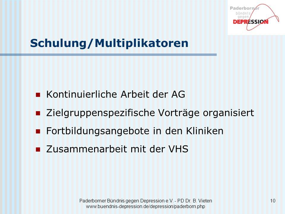 Paderborner Bündnis gegen Depression e.V. - PD Dr. B. Vieten www.buendnis-depression.de/depression/paderborn.php Schulung/Multiplikatoren Kontinuierli