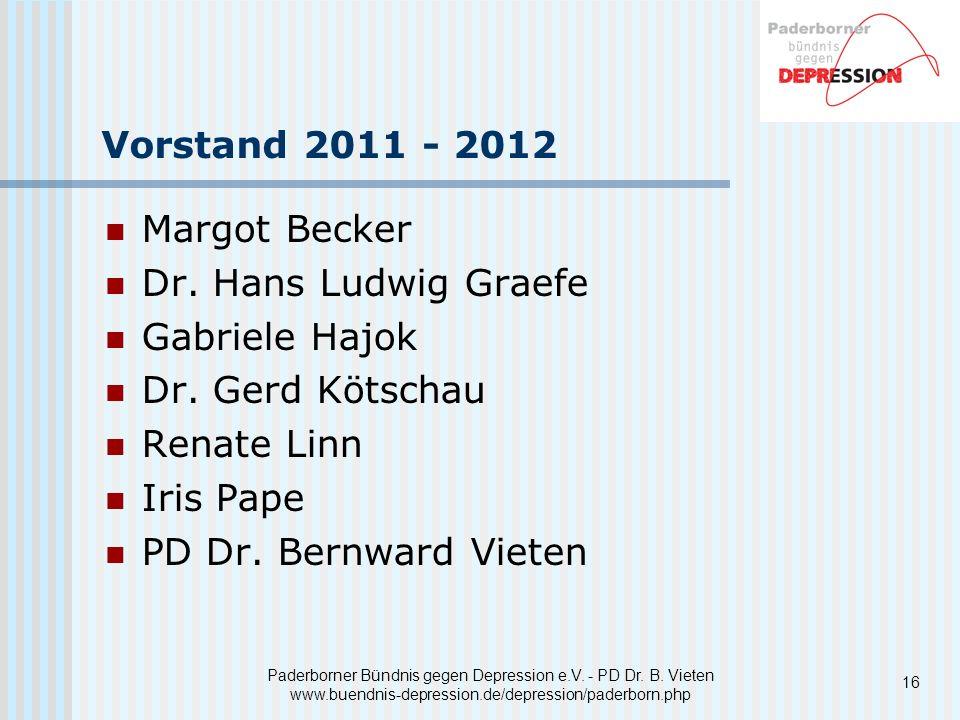 Paderborner Bündnis gegen Depression e.V. - PD Dr. B. Vieten www.buendnis-depression.de/depression/paderborn.php Vorstand 2011 - 2012 Margot Becker Dr