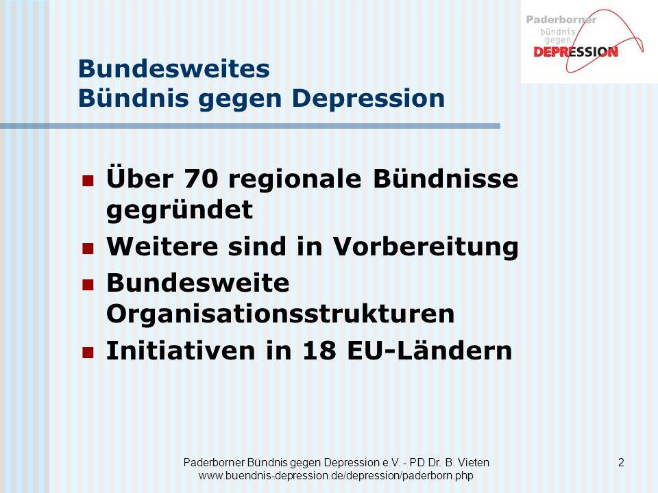 2Paderborner Bündnis gegen Depression e.V. - PD Dr. B. Vieten www.buendnis-depression.de/depression/paderborn.php Bundesweites Bündnis gegen Depressio