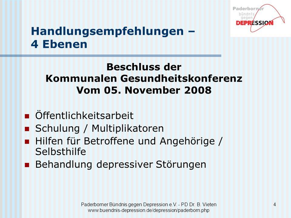 4Paderborner Bündnis gegen Depression e.V. - PD Dr. B. Vieten www.buendnis-depression.de/depression/paderborn.php Handlungsempfehlungen – 4 Ebenen Öff