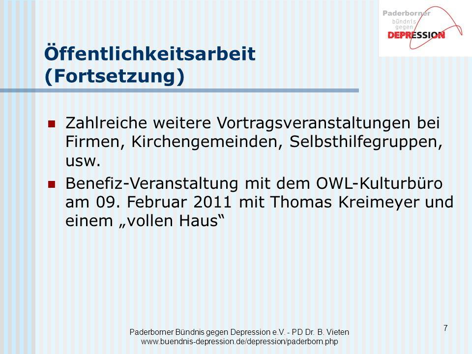 Paderborner Bündnis gegen Depression e.V. - PD Dr. B. Vieten www.buendnis-depression.de/depression/paderborn.php Öffentlichkeitsarbeit (Fortsetzung) Z