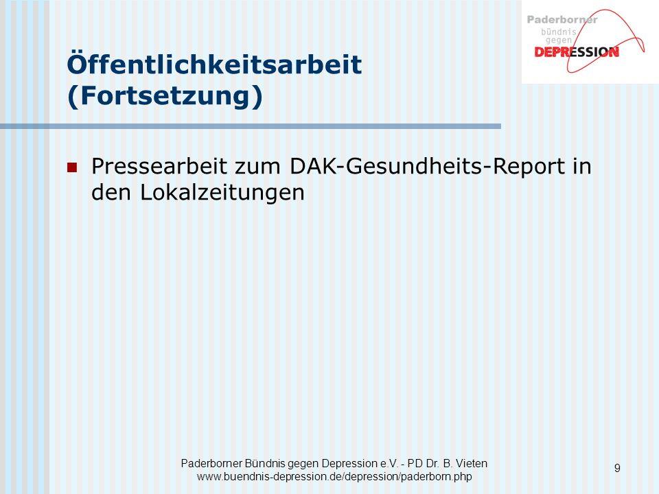 Paderborner Bündnis gegen Depression e.V. - PD Dr. B. Vieten www.buendnis-depression.de/depression/paderborn.php Öffentlichkeitsarbeit (Fortsetzung) P