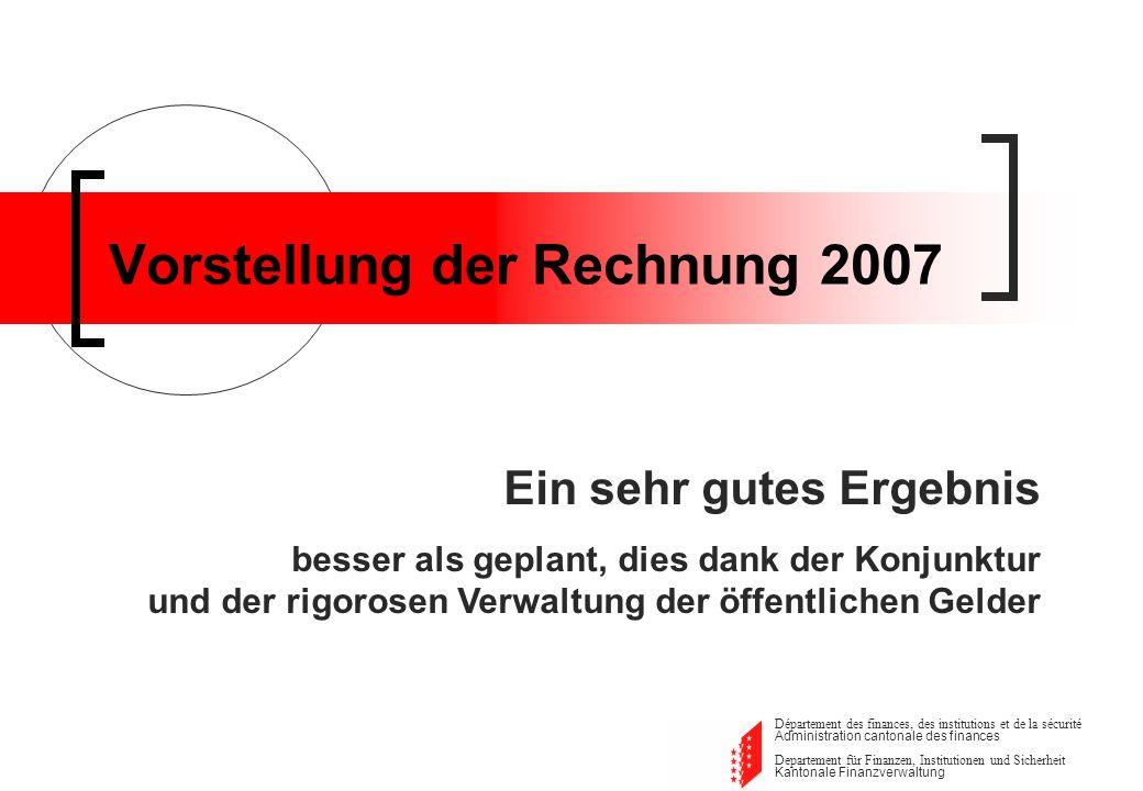 Departement für Finanzen, Institutionen und Sicherheit Kantonale Finanzverwaltung Rechnung 2007 Ergebnisse der Rechnung 2007