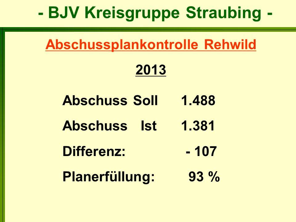 Abschussplankontrolle Rehwild 2013 Abschuss Soll1.488 Abschuss Ist 1.381 Differenz: - 107 Planerfüllung: 93 %