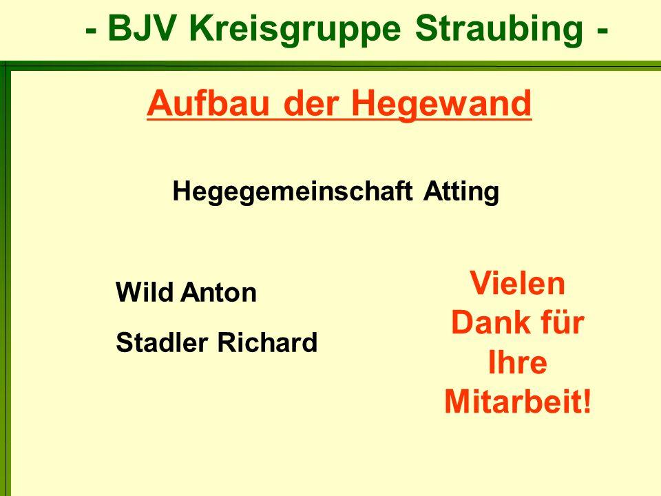 Hegegemeinschaft Atting Wild Anton Stadler Richard Aufbau der Hegewand Vielen Dank für Ihre Mitarbeit!