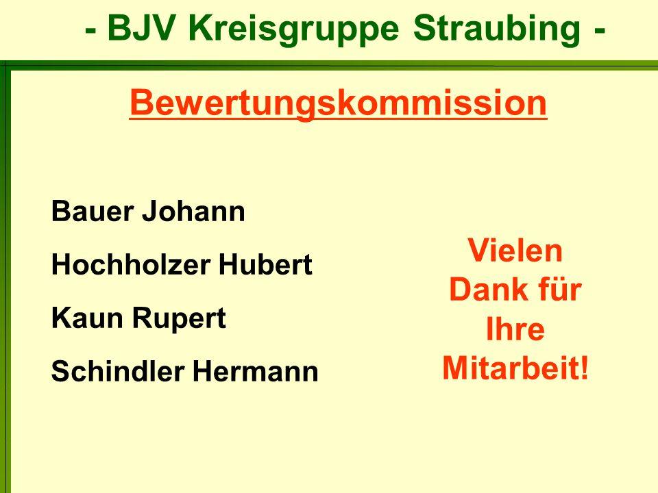 - BJV Kreisgruppe Straubing - Bauer Johann Hochholzer Hubert Kaun Rupert Schindler Hermann Bewertungskommission Vielen Dank für Ihre Mitarbeit!