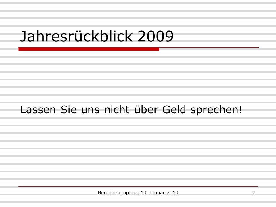 Neujahrsempfang 10.Januar 20103 Jahresrückblick 2009 Der schönste Gedanke ist Danke.