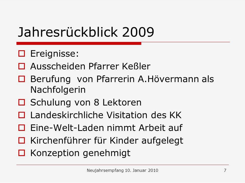 Neujahrsempfang 10.Januar 20108 Jahresrückblick 2009 Und doch Finanzen................
