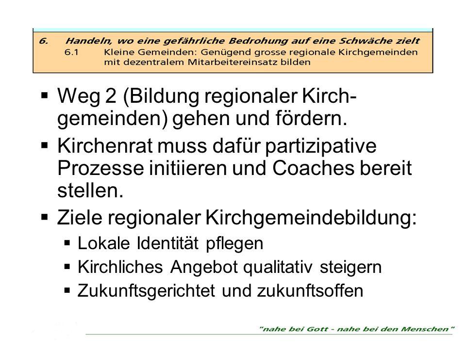 Weg 2 (Bildung regionaler Kirch- gemeinden) gehen und fördern.