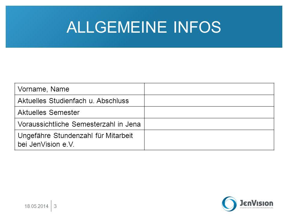 ALLGEMEINE INFOS Vorname, Name Aktuelles Studienfach u. Abschluss Aktuelles Semester Voraussichtliche Semesterzahl in Jena Ungefähre Stundenzahl für M