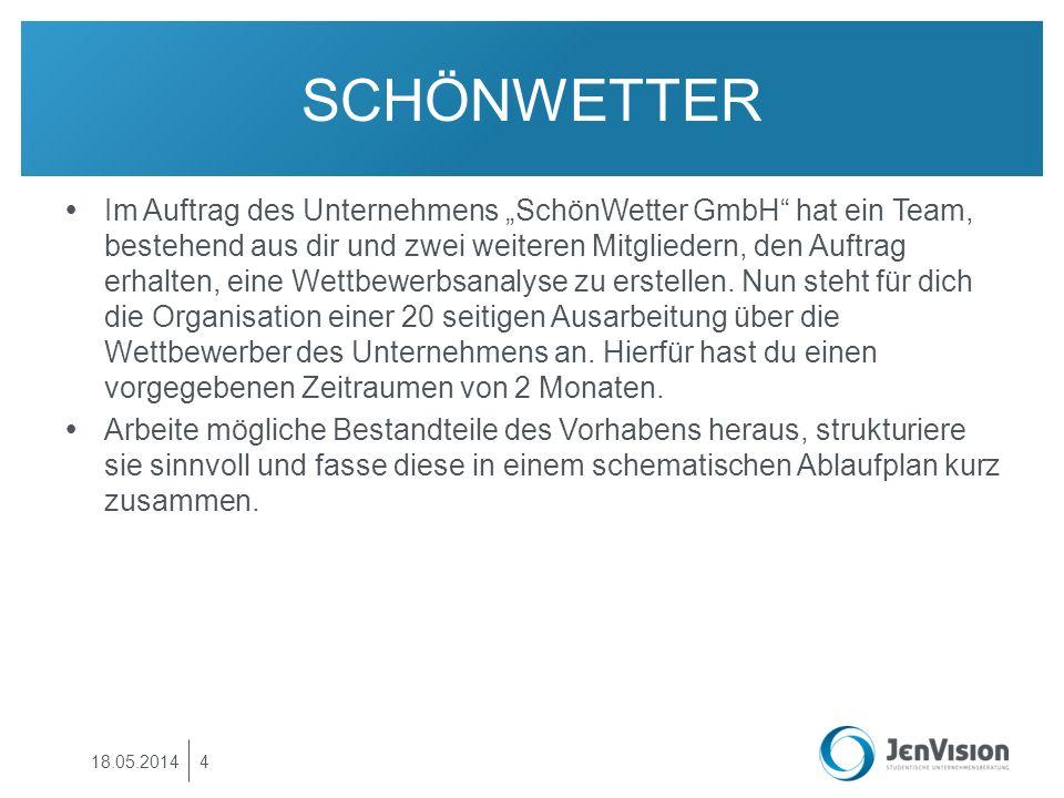 SCHÖNWETTER Im Auftrag des Unternehmens SchönWetter GmbH hat ein Team, bestehend aus dir und zwei weiteren Mitgliedern, den Auftrag erhalten, eine Wet