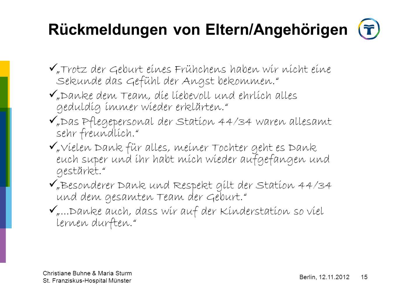Berlin, 12.11.2012 Christiane Buhne & Maria Sturm St. Franziskus-Hospital Münster 15 Rückmeldungen von Eltern/Angehörigen Trotz der Geburt eines Frühc