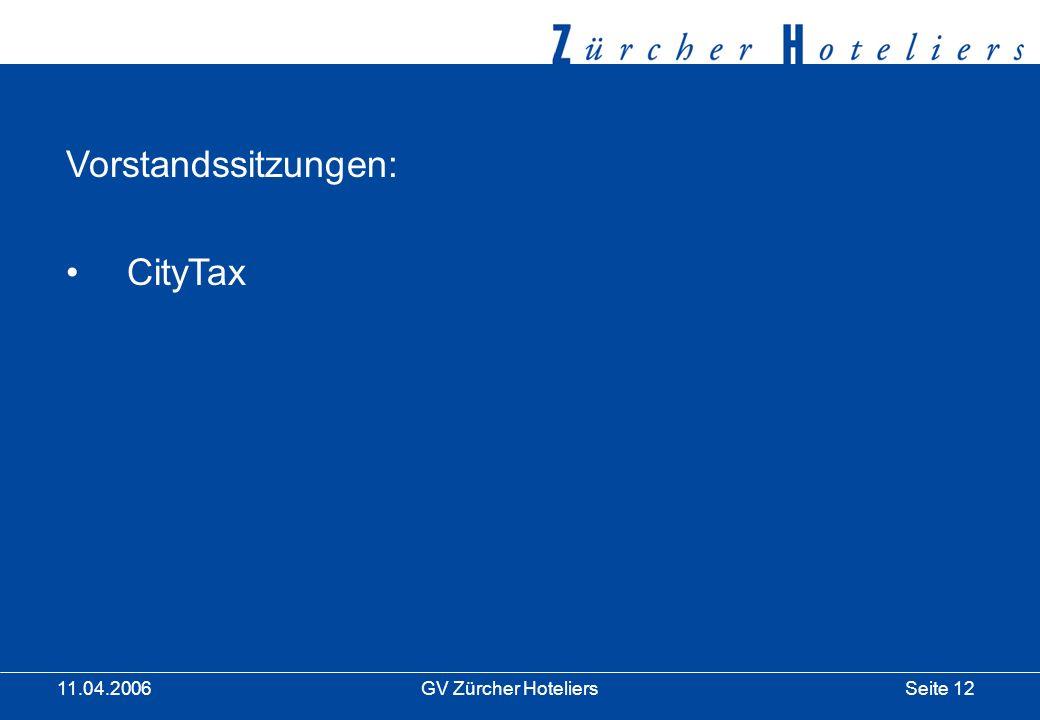 Seite 12GV Zürcher Hoteliers 11.04.2006 Vorstandssitzungen: CityTax