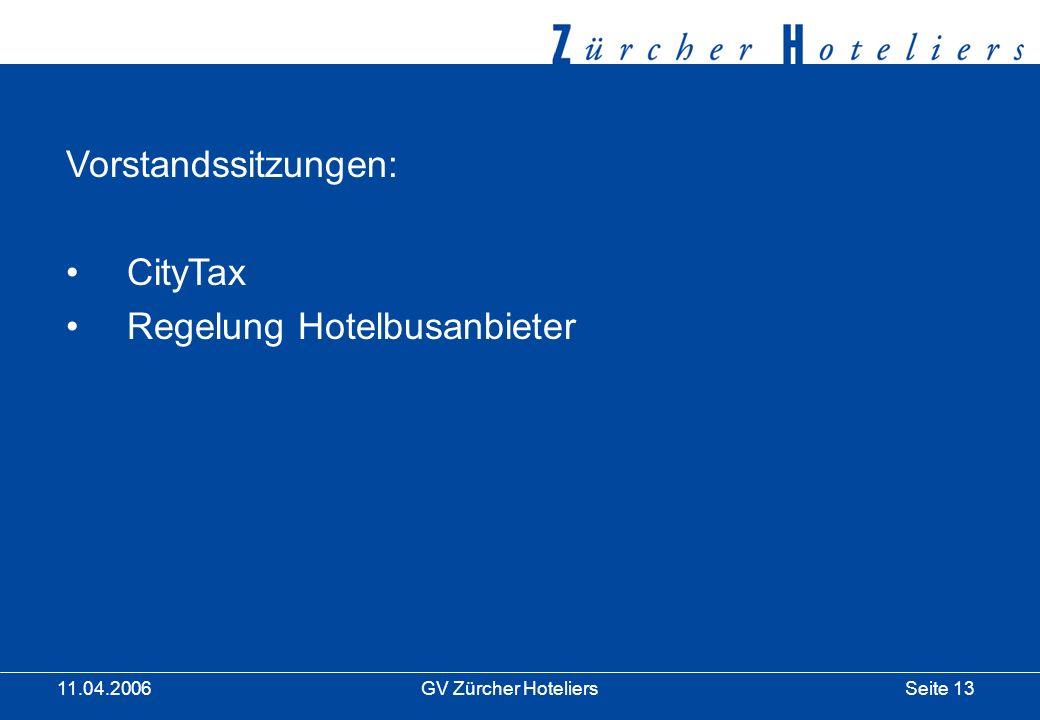 Seite 13GV Zürcher Hoteliers 11.04.2006 Vorstandssitzungen: CityTax Regelung Hotelbusanbieter