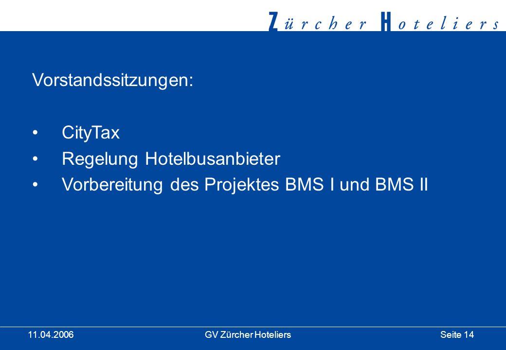 Seite 14GV Zürcher Hoteliers 11.04.2006 Vorstandssitzungen: CityTax Regelung Hotelbusanbieter Vorbereitung des Projektes BMS I und BMS II