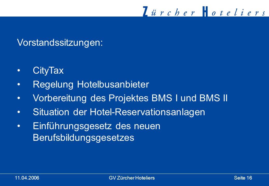 Seite 16GV Zürcher Hoteliers 11.04.2006 Vorstandssitzungen: CityTax Regelung Hotelbusanbieter Vorbereitung des Projektes BMS I und BMS II Situation der Hotel-Reservationsanlagen Einführungsgesetz des neuen Berufsbildungsgesetzes