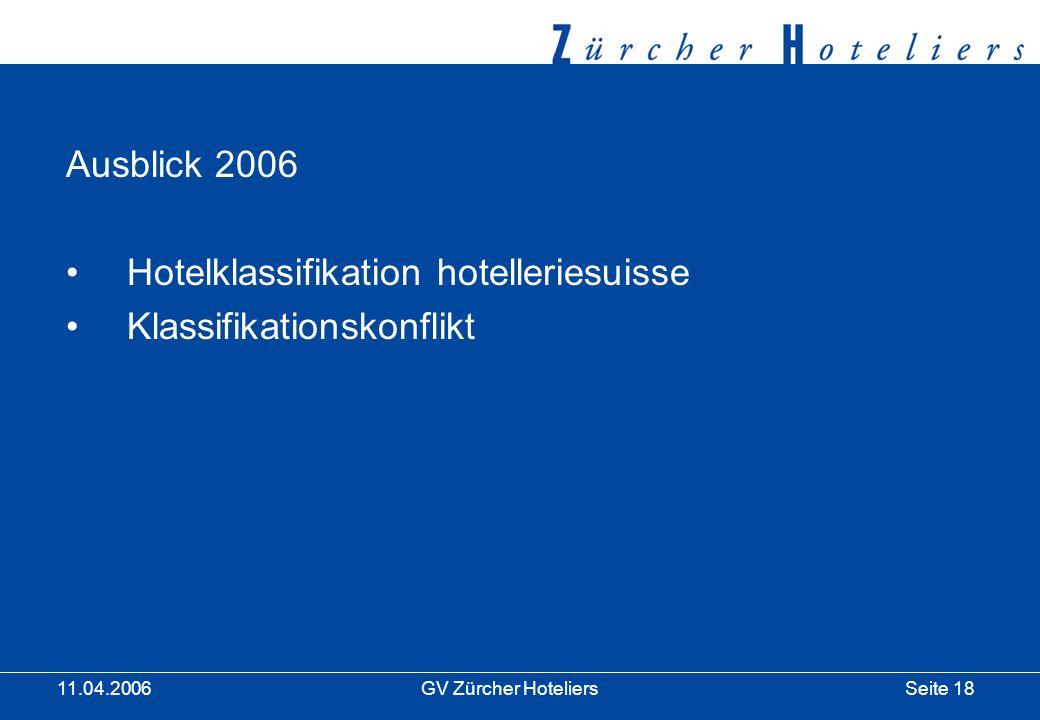 Seite 18GV Zürcher Hoteliers 11.04.2006 Ausblick 2006 Hotelklassifikation hotelleriesuisse Klassifikationskonflikt