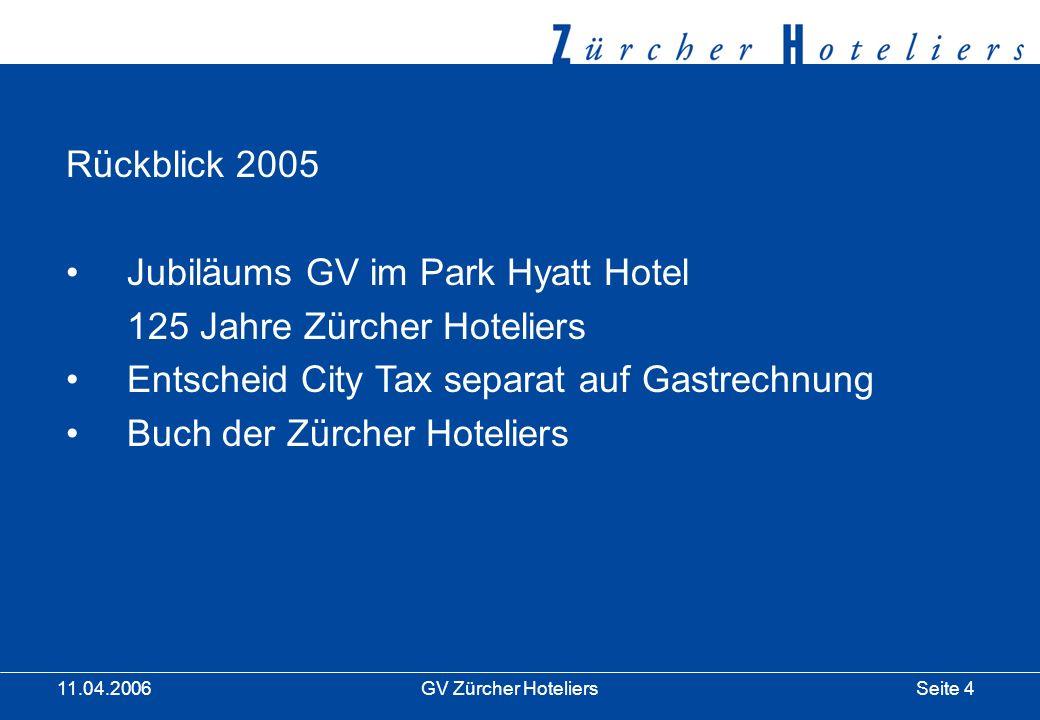 Seite 15GV Zürcher Hoteliers 11.04.2006 Vorstandssitzungen: CityTax Regelung Hotelbusanbieter Vorbereitung des Projektes BMS I und BMS II Situation der Hotel-Reservationsanlagen