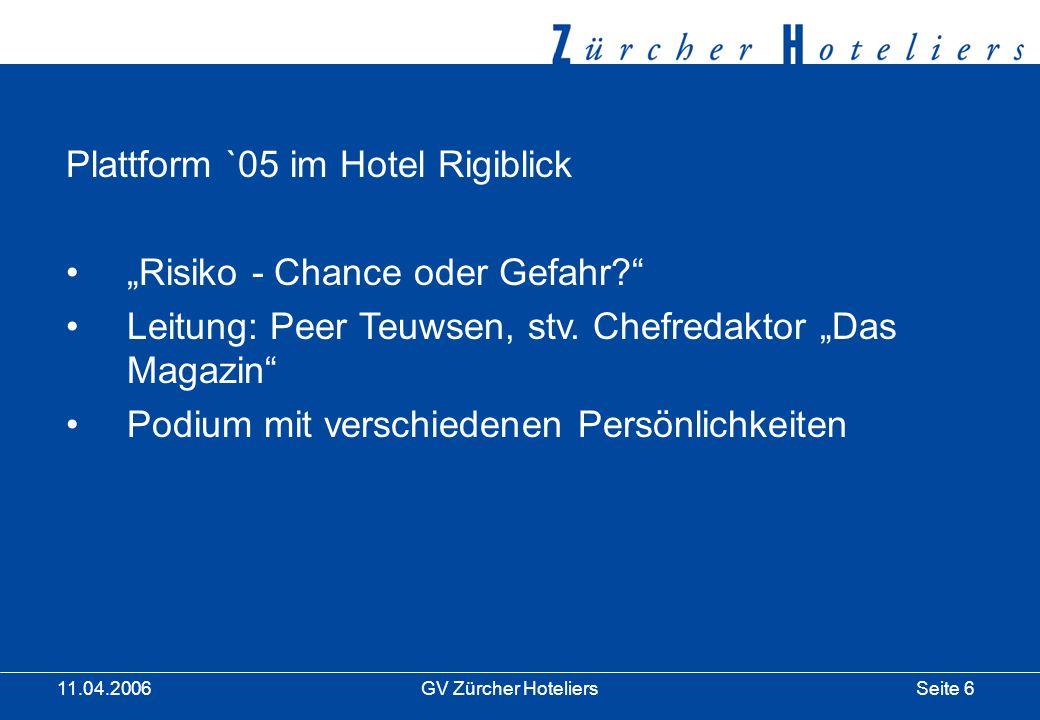 Seite 7GV Zürcher Hoteliers 11.04.2006 1.Zürcher Hoteliers Preis Kategorie Junger Zürcher Hotelier Magnasch Joos, Seedamm Plaza Weiterbildungsgutschein CHF 10000.- Kategorie Engagement Zürcher Tourismus Entsorgung und Recycling der Stadt Zürich Im Betrag von CHF 8000.-