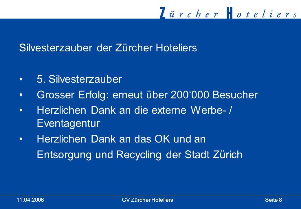 Seite 8GV Zürcher Hoteliers 11.04.2006 Silvesterzauber der Zürcher Hoteliers 5.