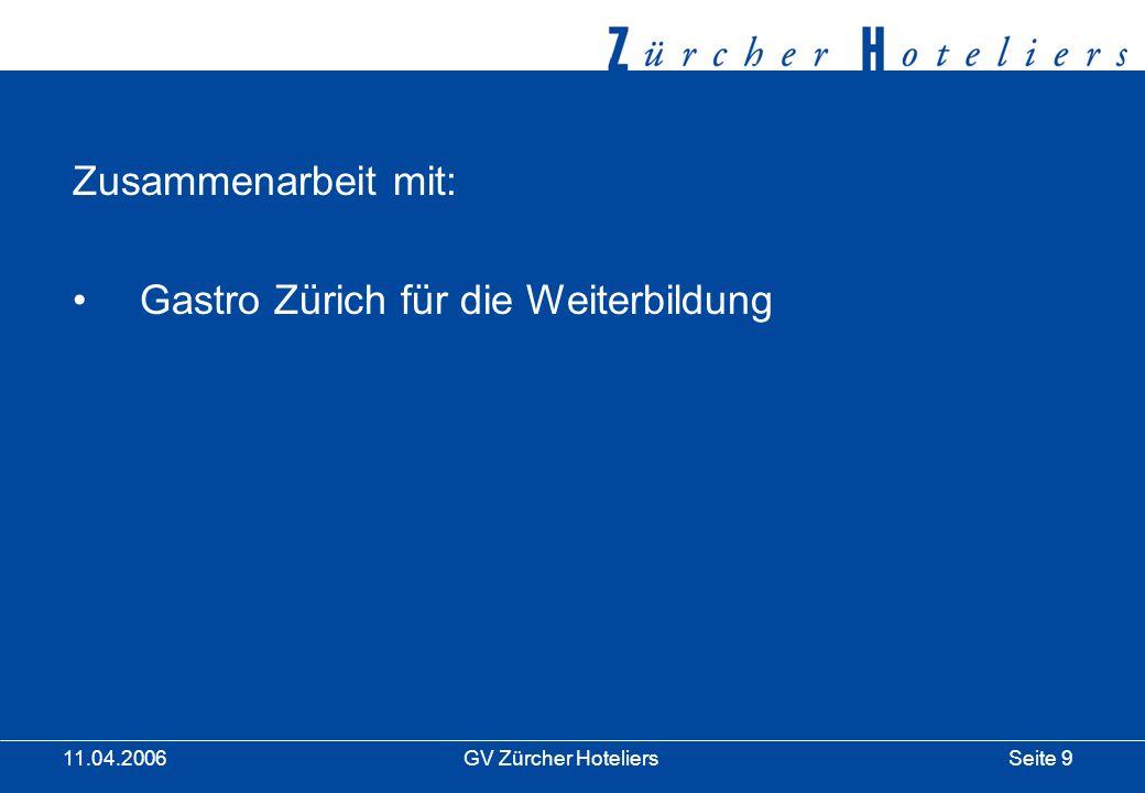 Seite 20GV Zürcher Hoteliers 11.04.2006 Ausblick 2006 Hotelklassifikation hotelleriesuisse Klassifikationskonflikt Rauchen / Nichtrauchen Euro 08