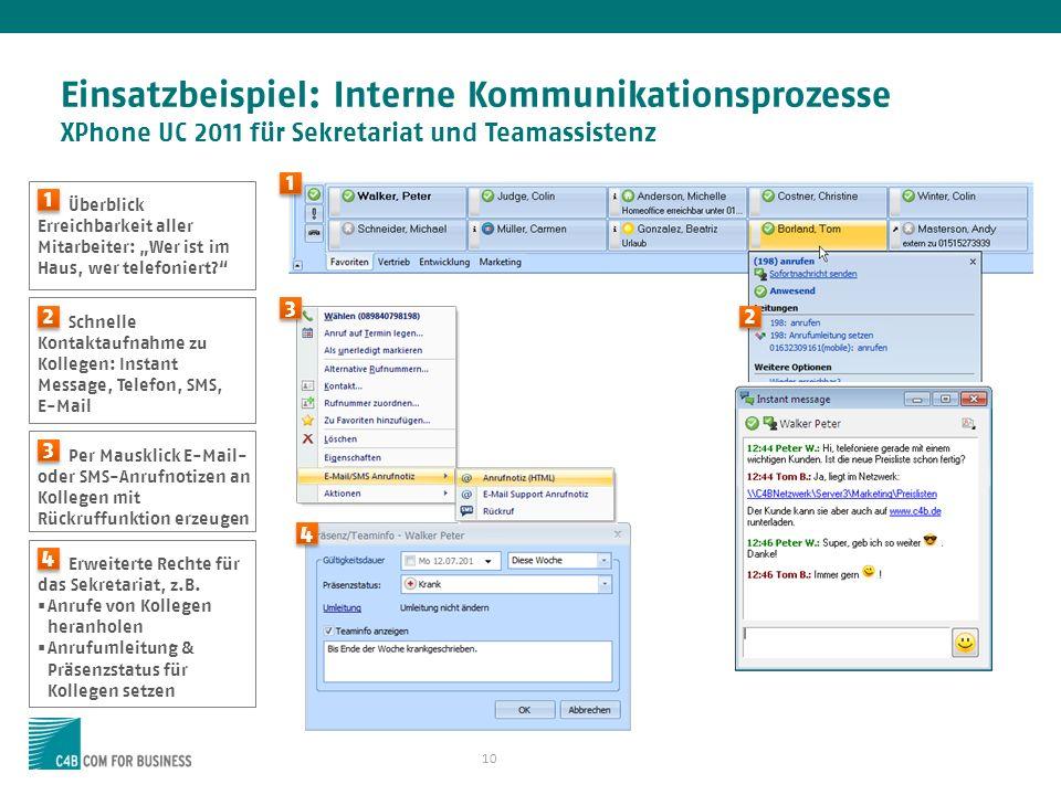 10 Einsatzbeispiel: Interne Kommunikationsprozesse XPhone UC 2011 für Sekretariat und Teamassistenz Überblick Erreichbarkeit aller Mitarbeiter: Wer is