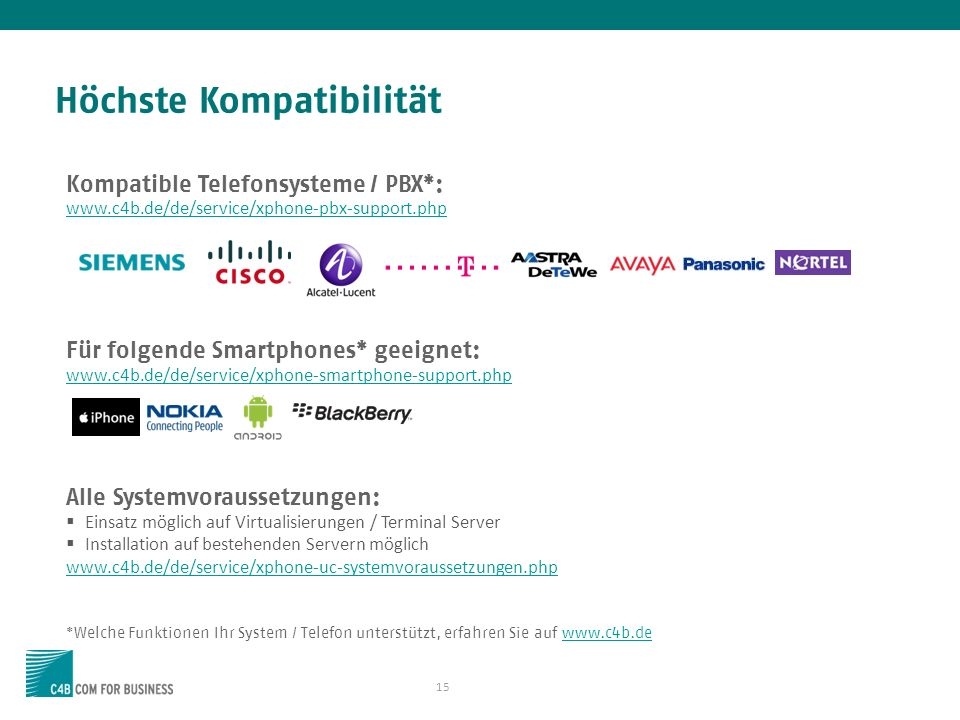 15 Höchste Kompatibilität Kompatible Telefonsysteme / PBX*: www.c4b.de/de/service/xphone-pbx-support.php Für folgende Smartphones* geeignet: www.c4b.d