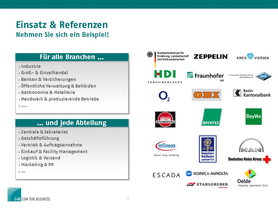Einsatz & Referenzen Nehmen Sie sich ein Beispiel! 3 Industrie Groß- & Einzelhandel Banken & Versicherungen Öffentliche Verwaltung & Behörden Gastrono